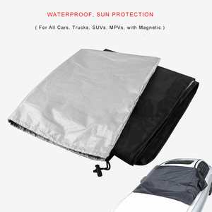 Image 2 - Universal Car Sunshade Cover with Magnet Auto Front Windshield Sunshades Car Window Sunshade Black Color