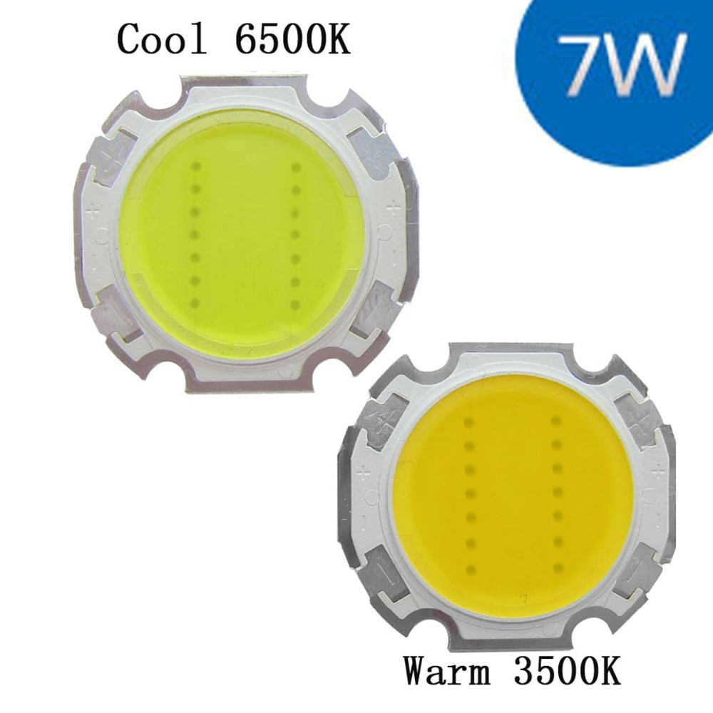 7W Cool / Warm White High Power Round COB LED SMD Light Part Bulb Lamp 700LM DC21-24V