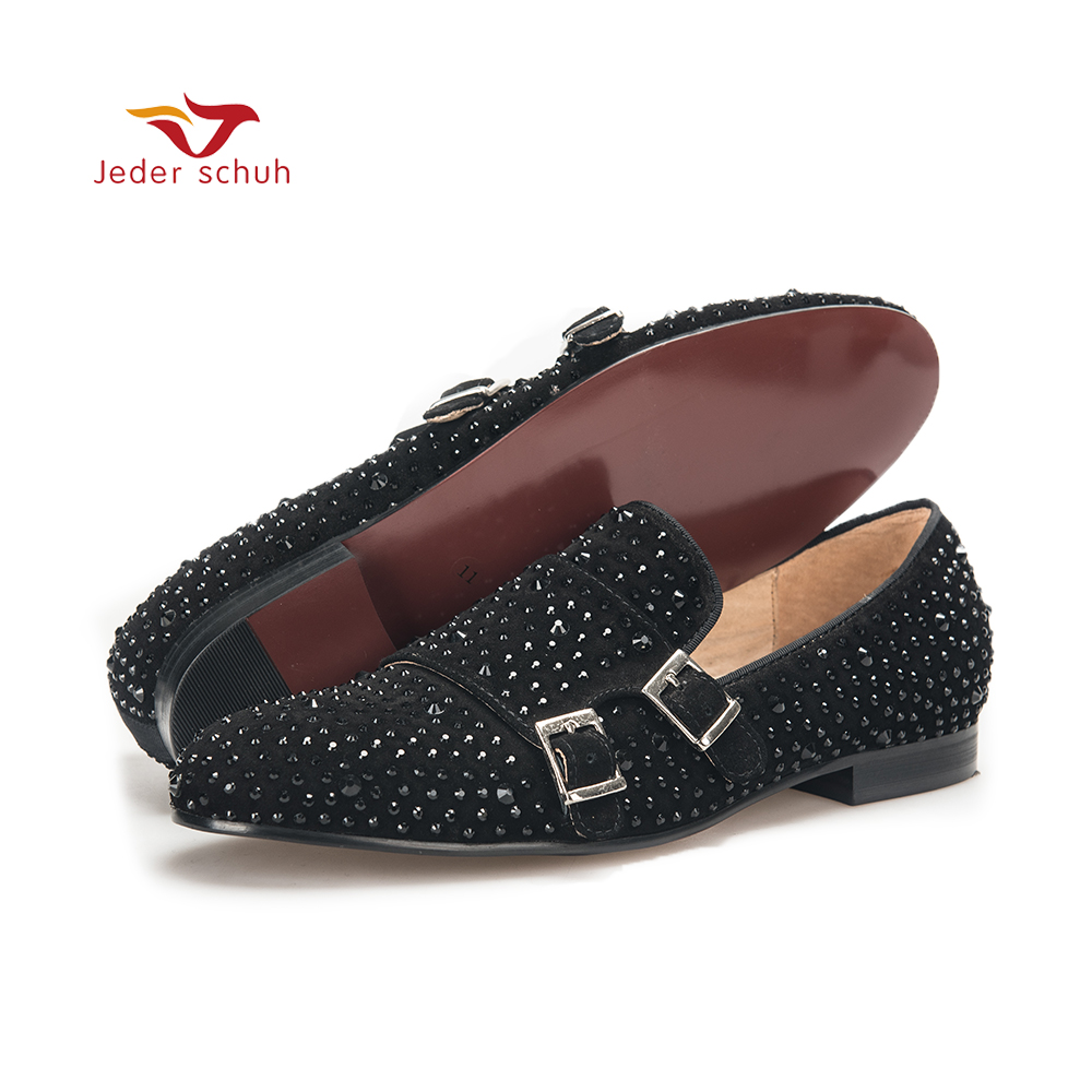 Men shoes men loafers with black rhinestone and hasp wedding and party men casual shoes somking