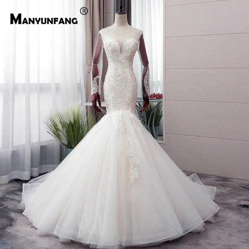 Full Long Sleeves Suknia Slubna Sheer Illusion Neck Dress Wedding Mermaid Shape Major Beads Wedding Dress Plus Size 2019