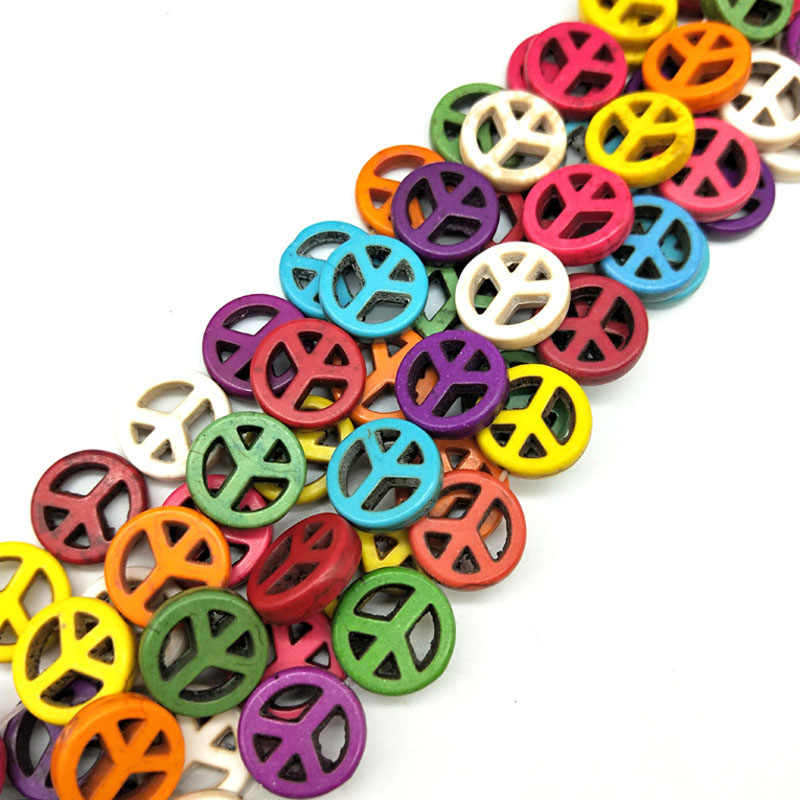 25pcs/lot 15mm Cheap Fashion Beads Colorful Peace Symbol Beads Stone Beads Charms Spacer Bead Handcrafts Random Color Wholesa