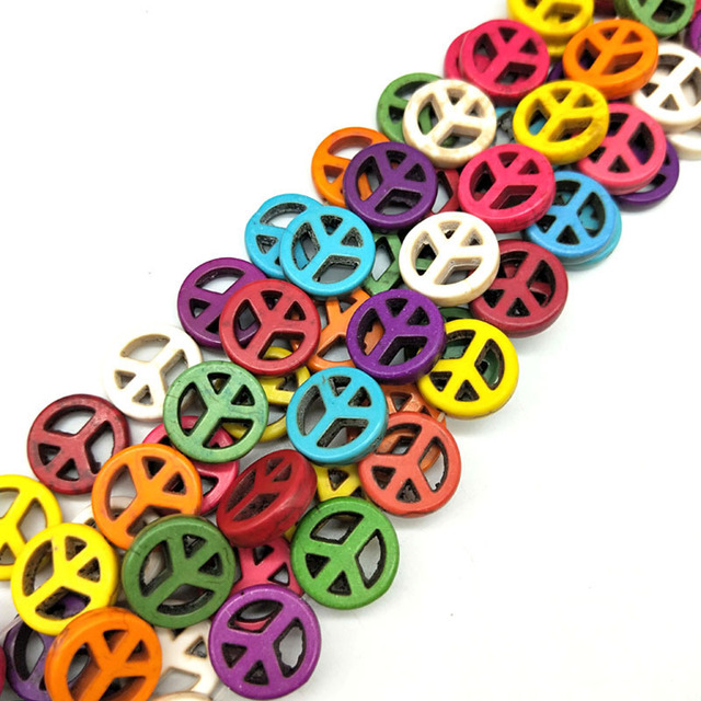 25pcslot 15mm Cheap Fashion Beads Colorful Peace Symbol Beads Stone