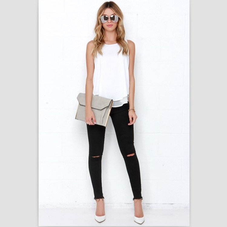 Lossky Individual Tee Shirt Femme 2016 Summer Style Women Tops Sleeveless Double Layer Ropa Mujer Loose blusas White Blouse 3