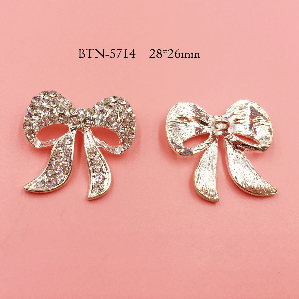 Free shipping 20PCS silver crystal rhinestone buttton bow as accessory (BTN-5714) ...
