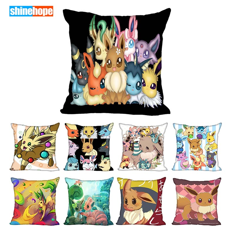 45X45cm,40X40cm(one Sides) Pillow Case Modern Home Decorative Pokemon Eevee Pillowcase For Living Room Pillow Cover