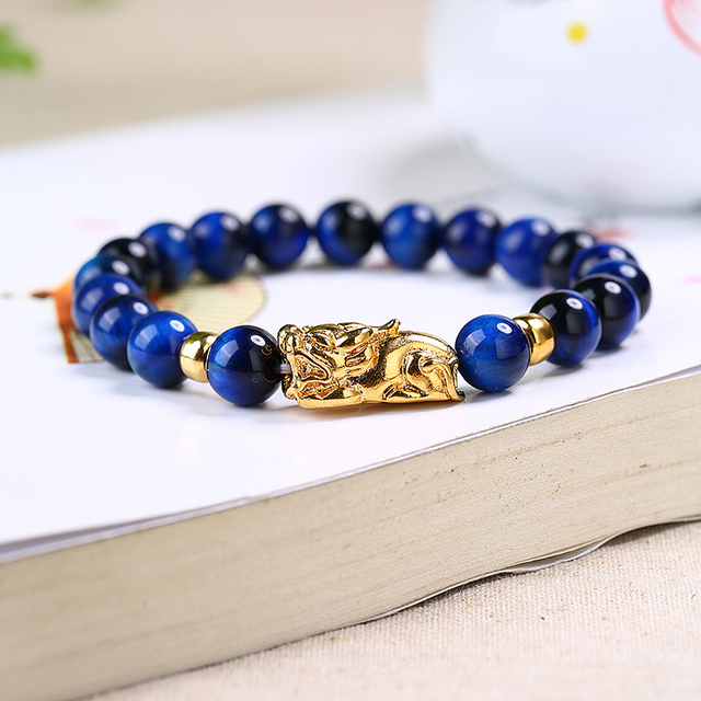 Natural Blue Tiger Eye Stone Bracelet 8 14mm Beads Fine Caving Pi Xiu For