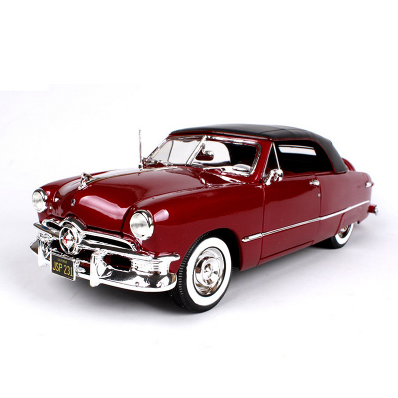 <font><b>1:18</b></font> Scale Ford 1950 Vintage Classic <font><b>Car</b></font> <font><b>Models</b></font> Red and Coffee <font><b>Diecast</b></font> <font><b>Models</b></font> Children Gifts Toys Collections image