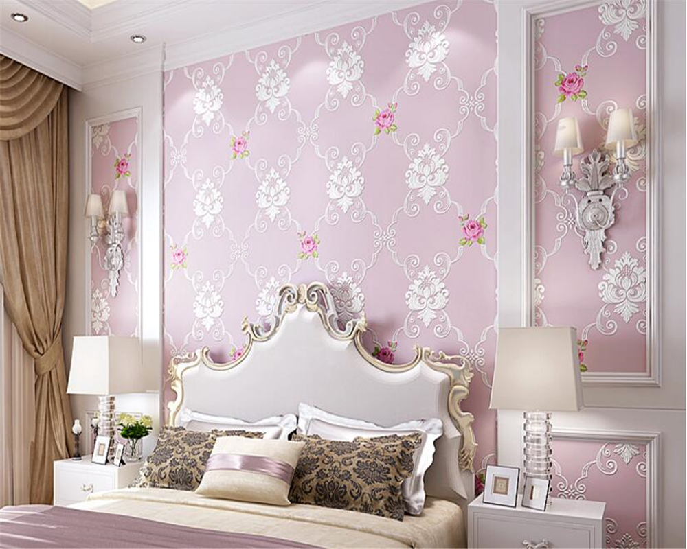 beibehang papel de parede 3d wallpaper Classic pastoral bedroom background wall paper 3D stereo relief fine pressed nonwovens pastoral rustic floral wall paper striped wallpaper flowers mirror wallpaper mural for bedroom 3d background papel de de parede
