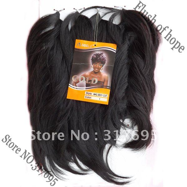 One Pack For Full Head Noble Gold Sexy Cut Synthetic Hair Extensions