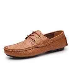 2016 Мода Мужская Повседневная Из Натуральной Кожи на шнуровке Квартиры Обувь Резиновый Крокодил Зерна Дышащая Мягкие Вождения Обувь Плюс Размер 35-49