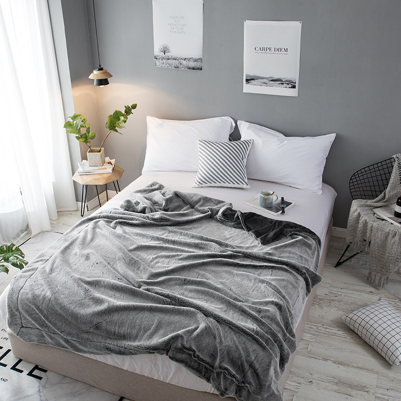 Image 4 - Plain Dyed Super Soft Rabbit Fur Blanket Grey Coffe Color Luxury Faux Fur Mink Throw Spring Autumn Sofa Couch Airplane Blanket-in Blankets from Home & Garden