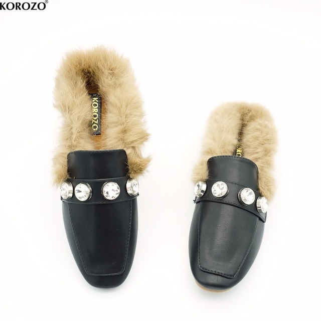 Women's Flat heel shoes Open toe Real Rabbit fur Chain Slip on Mules Slippers