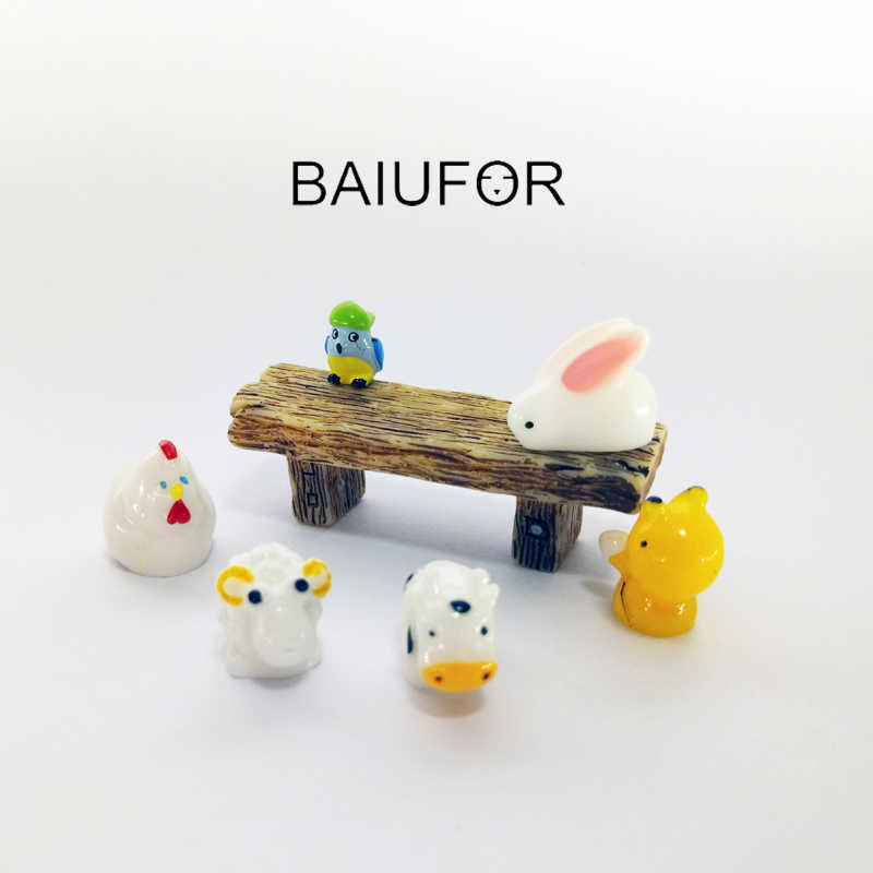 BAIUFOR Mini Animals Parrot Bee Rabbit Sheep Cow Fairy Garden Miniaturas Micro Moss Landscape diy Terrarium Figurines