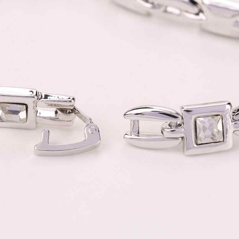 Lyiyunq geométrico pulseiras & bangles para as mulheres moda romântico quadrado cristal charme pulseira na moda strass jóias de casamento