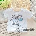 Ребенок летом хлопковой футболке белый мужской женский ребенок Футболка с коротким рукавом ребенка мультфильма Футболки