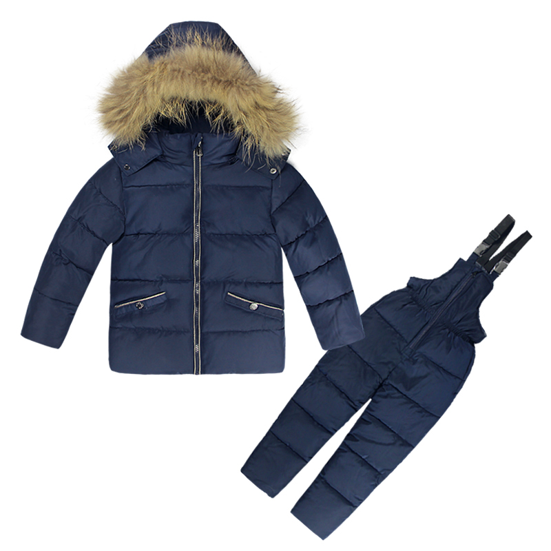 Russia Children's Winter Jackets Boys Clothing Set 2PCS Overalls SKI SUITS Warm Windproof Outwear Snowsuits 2-6T Kids Hot Sale otoky retro leaves vintage style pocket chain necklace watch for quartz women watch reloj mujer 40 gift 1 pcs