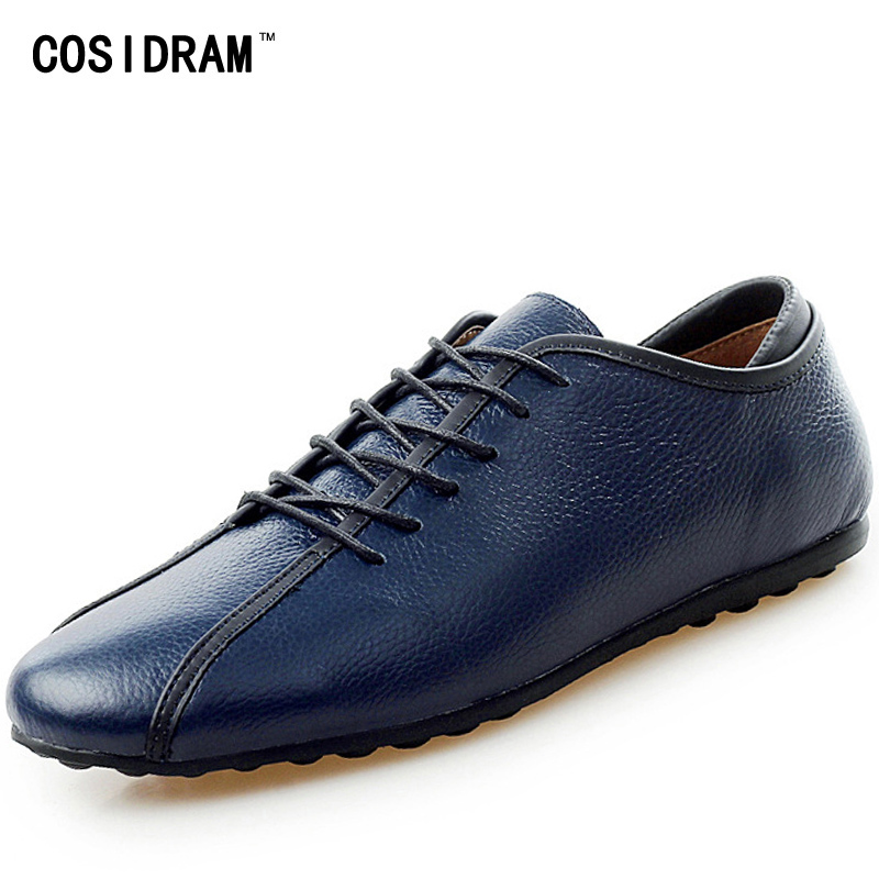 COSIDRAM 2017 Genuine Leather Flats Men Casual Shoes Soft Lace-Up Men Shoes Fashion Male Footwear Leisure Driving Shoes RMC-020 male casual shoes soft footwear classic men working shoes flats good quality outdoor walking shoes aa20135