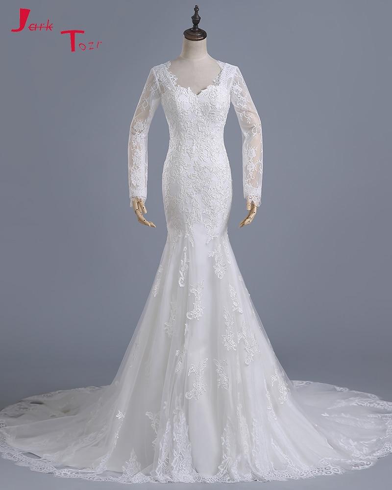 Sheath Wedding Dresses 2019: Jark Tozr Long Sleeve Lace Appliques Bridal Gowns Ivory