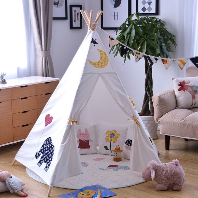 YARD Cute Animal Tree Graffiti Kids Play Tents Indian Tower Portable Folding Tent House Indoor Tent & YARD Cute Animal Tree Graffiti Kids Play Tents Indian Tower ...
