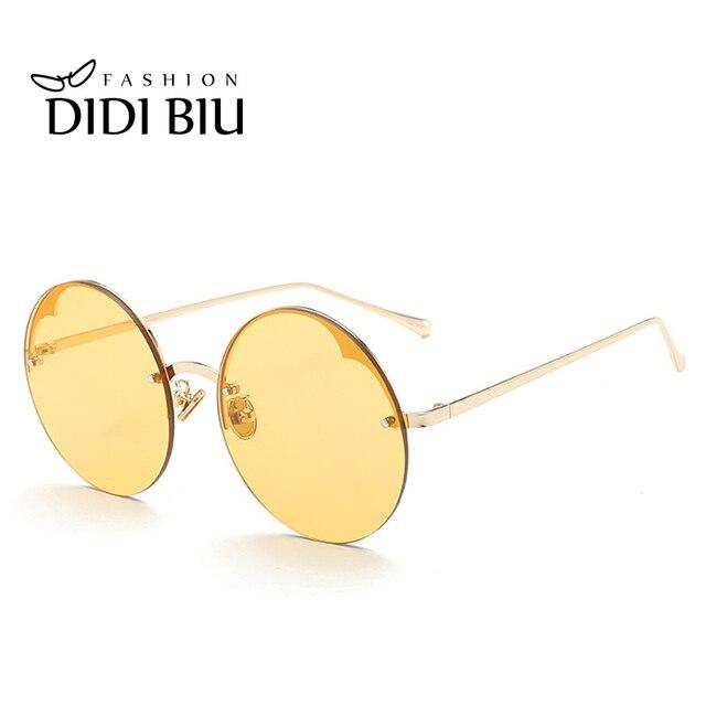 DIDI Jaune Sans Monture Ronde lunettes de Soleil Femmes Marque Designer  Hippie Hippie Marine Lentille Lunettes 79d6bea0e9b0