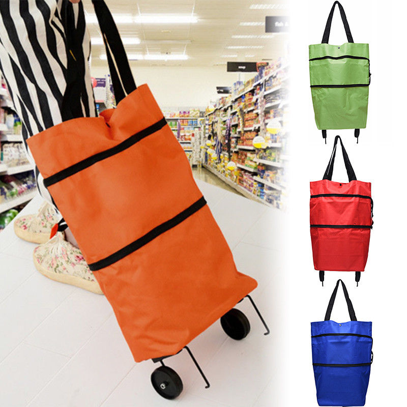 Oxford Shopping Bag Trolley Foldable Wheel lightweight Folding Bag Reusable Grocery Shopping Bag Waterproof Ripstop Hot Sale etya women reusable shopping bag printing unisex foldable cotton drawstring grocery shopping bags hot sale case pouch