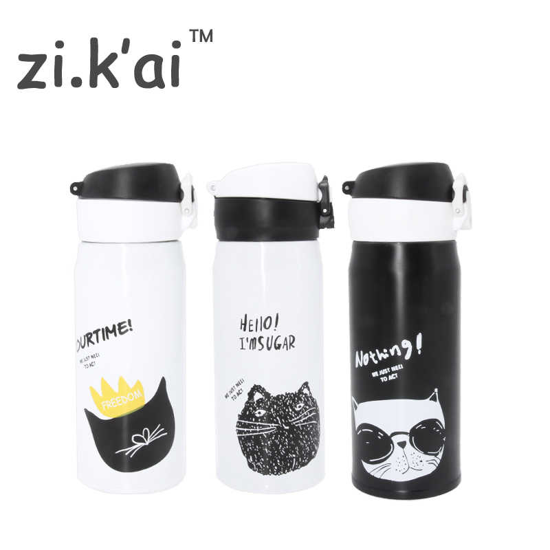 ZIKAI B & W KAT reizen Thermos Cup Stuiterende cover Fles Rvs Thermocup thermoskan Thermische Mok 350 ml koffiemok BW-2