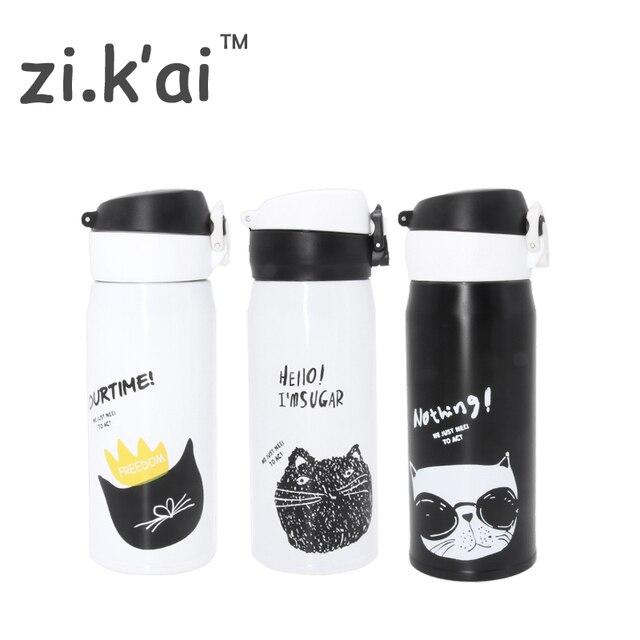 ZIKAI B & W Кошка походный термос чашка прыгающая крышка бутылка из нержавеющей стали Термочашка термоусадочная колба кружка 350 мл кофе кружка BW-2