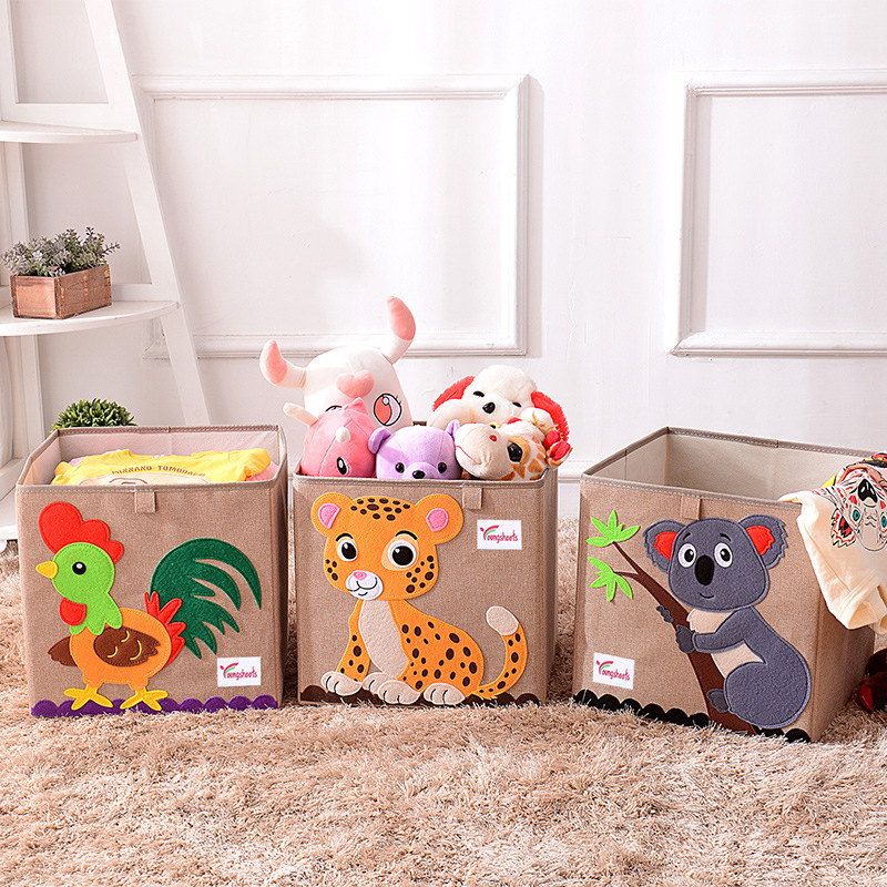 3D Cube Animal Pattern Folding Storage Box And Toys Clothes Organizers Linen Laundry Basket For Kid Gift 33*33*33CM Set-top Box