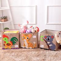 3D Cube animal Pattern Folding storage box and toys clothes organizers linen Laundry basket for kid gift 33*33*33CM Set top Box