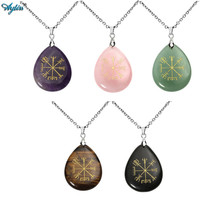 Ayliss Bulk Price Guidepost Compass Vegvisir Natural Stone Pendant Necklace Engraved Old Northern Europe Viking Rune Chain 24