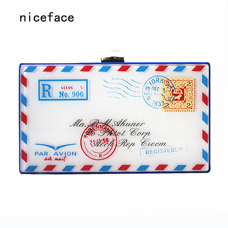 New brand 2017 women messenger bag Retro printed envelope design acrylic hand bag woman Cute personalized