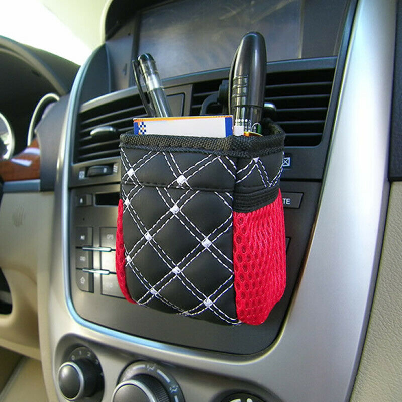 1X Car Air Vent Trash Organizer Hanging Box Bag Pen Pouch Holders Bags With Clip For Renault Bmw E39 Kia Rio Audi A4 B6 Golf 6