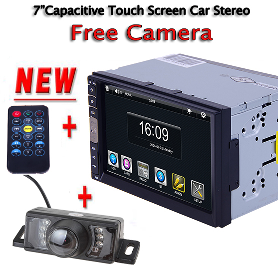 2 DIN 7 Inch Bluetooth Audio In Dash Touch Screen Car radio Car Audio Stereo MP3 MP5 Player USB Support for SD/MMC Free camera 2015 new support rear camera car stereo mp3 mp4 player 12v car audio video mp5 bluetooth hands free usb tft mmc remote control
