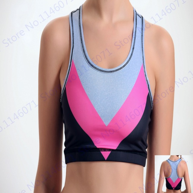 744b90053789f Contrast Color Yoga Bra Women Seamless 3D Print Striped Sports Bras Yoga  Shirts Wirefree Padded Top