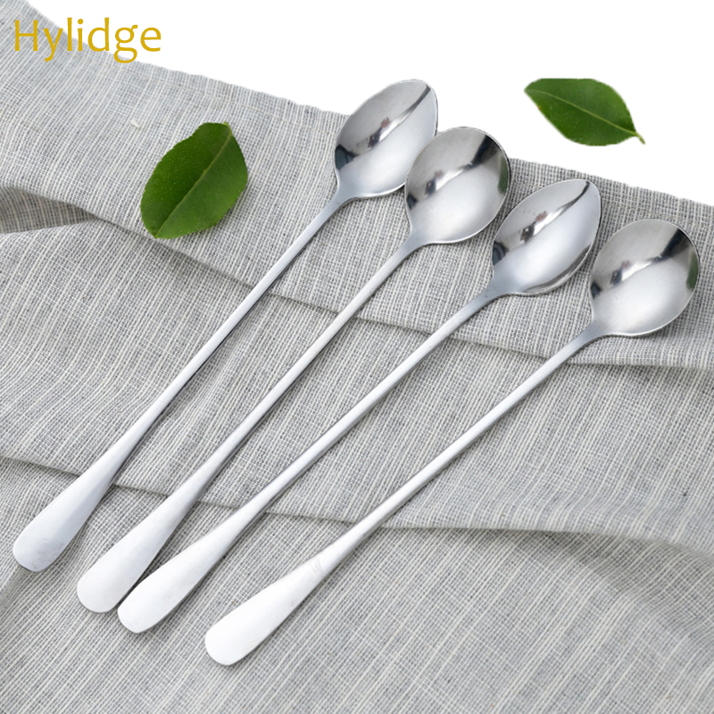 Children Cutlery Set Korean Boy Girl Spoon Food Eating Tools Stainless Steel Long Handle Spoon Food Milk Mixing Spoon 1PC