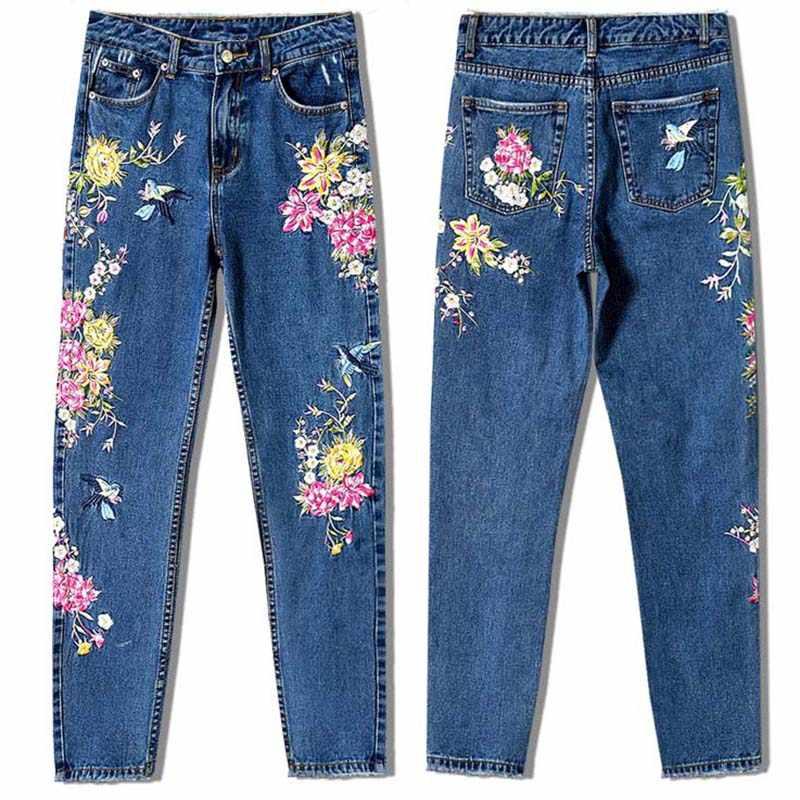 新ファッション服女性デニムパンツストレートロングジーンズパンツ 3D 花刺繍ハイウエストの女性のジーンズ