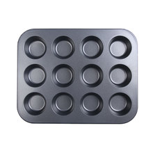 2017 mini-12 copa Muffin Taza De Lata De Hierro Inoxidable Sartén Antiadherente Bandeja de Horno Pan Pudding Muffin Pan Nueva Herramienta de la Cocina