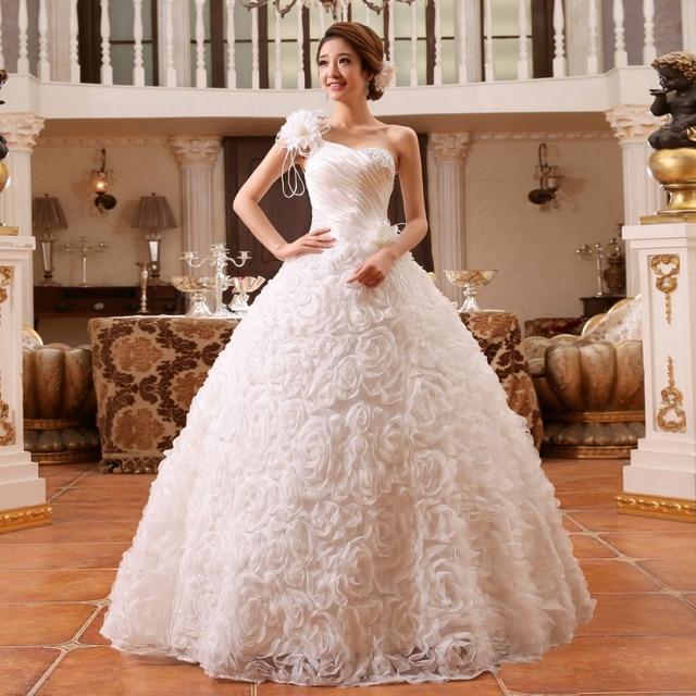 New Spring   Summer Bride Strapless Dress 2016 Hot Sale Sweetange Korean  Style Sweet Romantic Lace Princess One Shoulder Straps 677ca148f496