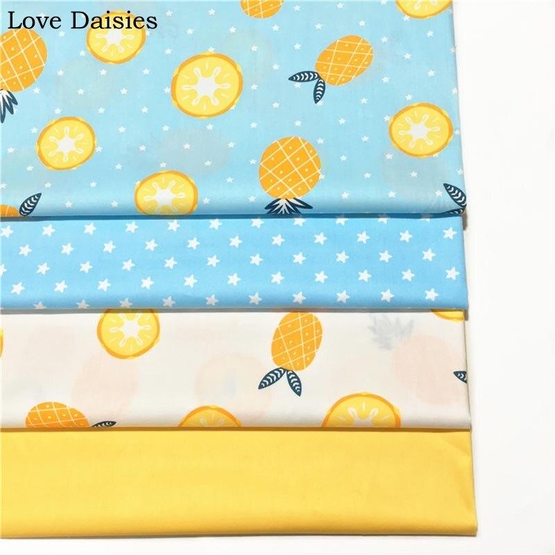 100% Baumwoll-twill Tuch Blau Weiß Obst Ananas Zitrone Stern Gelbe Stoff Für Diy Krippen Bettwäsche Kleid Patchwork Handarbeit Decor