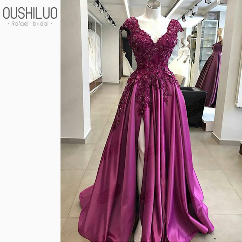 Designer 3D Floral Applique Beads Evening Dress Gown For Women With Cap Sleeve 2019 Purple Satin Side Split Long Prom Dresses in Evening Dresses from Weddings Events