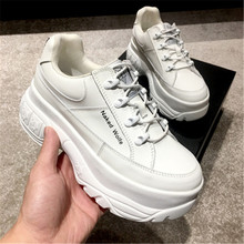 Genuine Leather white sneakers women 2019 Women Dad Shoes designers Brand ladies Basket Femme Casual Chunky Trainers