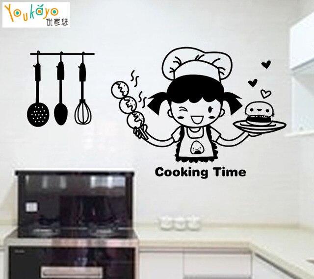 Chef felice in Tempo di Cottura Cute Girl Wall Sticker per Cucina ...