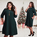 Fashion elegant 2017 plus size women clothing L-6xl Knee-Length vestidos O-neck solid Dress casual women loose dress big sizes
