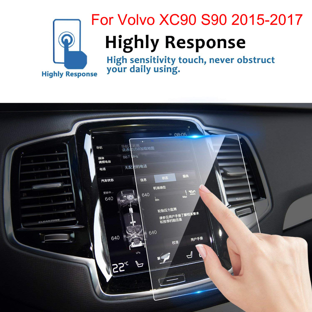 8.7 Inch Tempered Glass Screen Protective Film For Volvo XC90 S90 2015 2016 2017 Car GPS Navigation Screen Protector