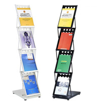 Metal Baking Finish Magazine Brochure Catalogue Folding Holder Stand In Booth Exhibition Shop Display ZA6663