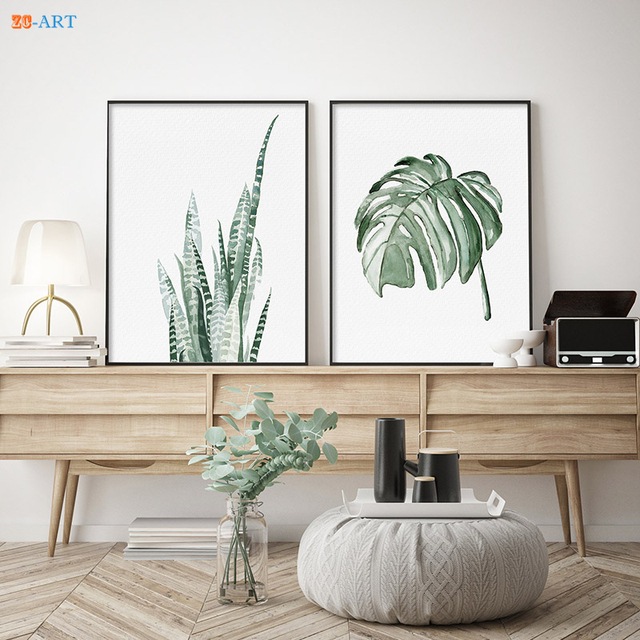 Monstera Deliciosa Canvas Prints Green Tropical Leaves Leaf Drawing  Botanical Minimalist Plant Wall Art Office Decor