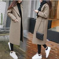 winter wool blends Coat Women Long slim Thicken warm Woolen Coats Plus Size 2XL