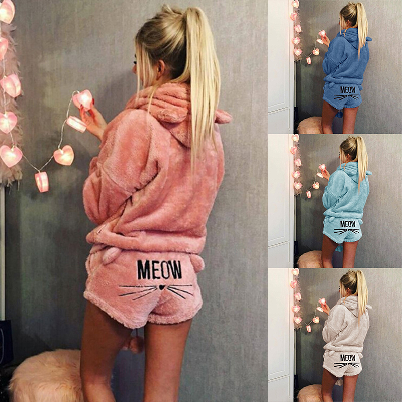 Women   Pajamas     Set   2018 Autumn Winter Warm Pyjamas Women Fleece Pijamas Femme Sexy Lingerie Cat Pijama Mujer Sleepwear Homewear