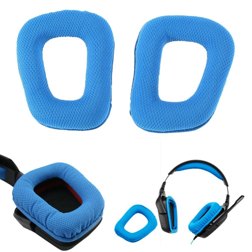 1 Par De Almohadillas De Repuesto Para Almohadillas De Oído Para Auriculares De Deporte De Alta Calidad De Color Azul De Logitech G35 G930 G430 F450