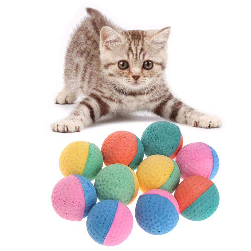 10 Pcs Pet Dog Cat Toy Latex Balls Colorful Chew Toys For Dogs Cats Puppy Kitten Soft Elastic Pet Supplies W20